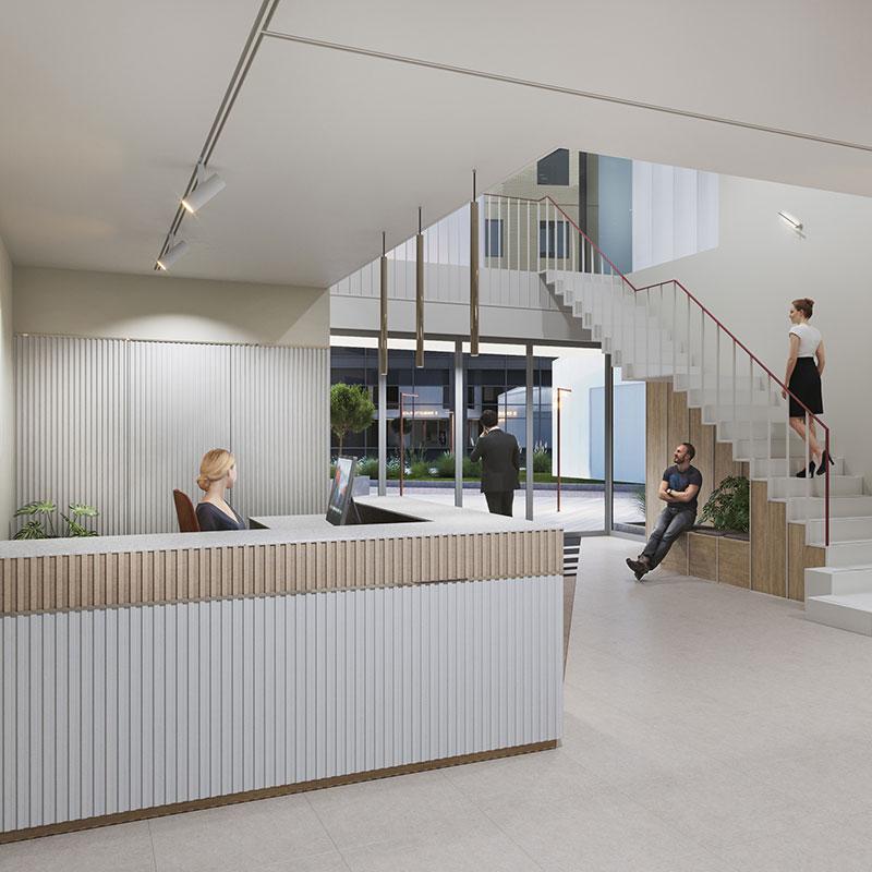 Reception at Charlotte Place office space, Southampton   Kingsbridge Estates
